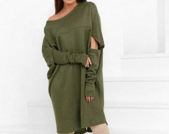 Oversize dress olive Jersey midi dress women Warm gown long sleeve black Casual womens dress free cut Jersey dress green open shoulder