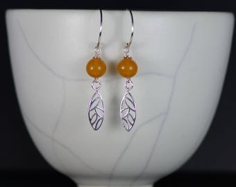 Boho Amber and Sterling Silver Dangle Earrings, FREE SHIPPING WORLDWIDE