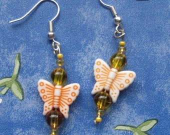 Orange and Yellow Butterfly Earrings- dangle earrings, drop earrings, beaded, delicate, fairy, princess