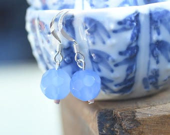 Soft French Blue Faceted Glass Earrings