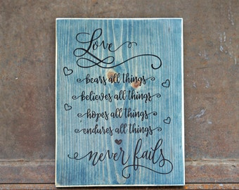 Love never fails   Wood Signs   Love Sign   Photo Prop   Wedding Sign   Valentine's Day   Home Decor   Wedding Decor   Wedding Gift