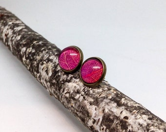 Red earring studs, Red leaf stud earrings, Everyday earrings, Red jewelry, Red earring post, Brass earrings, Casual earrings, Unique jewelry