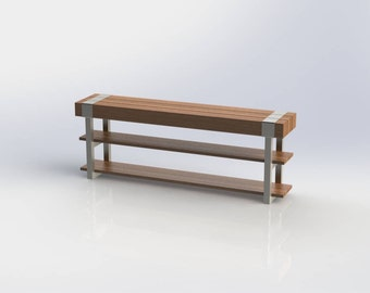 solid wood industrial modern entry bench steel and wood bench storage bench shoe