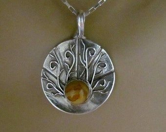 """Item 6081 - """"Swirly Swirls"""" 999 PMC Fine Silver Handcrafted, sculpted, carved and Hand painted Crazy Lace Agate"""