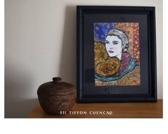 """Inspiration Grace Kelly, portrait vintage, portrait star, décoration bohème, intitulé """"Au Royaume de Grace"""""""