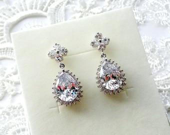 Bridal earrings drop earrings crystal Wedding earrings Wedding jewelry gift Crystal Bridal jewelry Teardrop earrings Bride earrings jm1