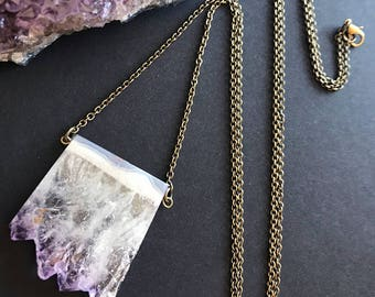 Raw Amethyst Slice Necklace // Unique Long Necklace // Raw Stone Necklace // Natural Stone Necklace // February Birthstone Necklace