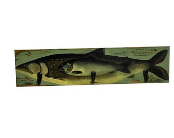 Trout Coat Rack 3 Black Hooks with Hand Painted Fishing Decor