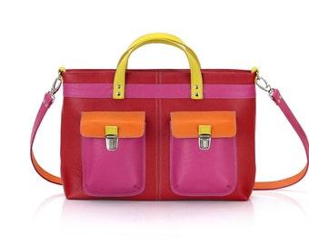 Leather Satchel Bag | Multicolored Shoulder Bag | Briefcase unisex | Leather briefcase | Leather messenger bag | Satchel bag | Laptop bags