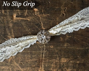 Ivory Wedding Garter NO SLIP grip vintage rhinestones