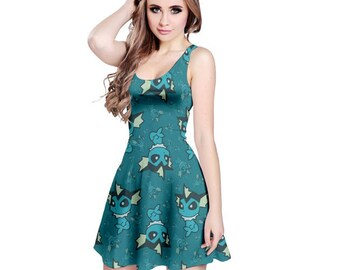 Vaporeon Dress - Skater Dress Eevee Evolution Dress Pokemon Dress Cosplay Dress Videogame Dress Water Pokemon Comiccon Plus Size Dress