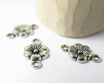 10 pcs - Antique Silver Jewelry Connectors - Bracelet Connectors - Necklace Connectors - Connectors - Flower Charm - Connector  - F0040