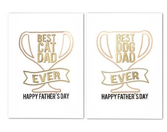 A6 Hand Drawn Card - Best Cat/ Dog Dad Ever - Father's Day - Australian Made