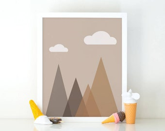 Geometric Mountains, Triangle print, Cloud mountain, Minimalist printable, Kids room decor, Nursery decor, cute wall art, nursery wall art