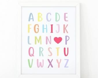 I Love You, Colorful alphabet, nursery wall art, Alphabet letters, Love poster, printable art, i love you print, Heart print, Alphabet print