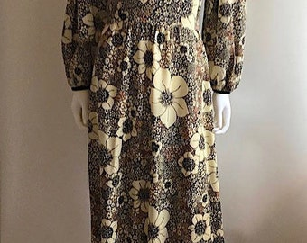 1970s Dress / The Switch / Balloon Sleeves / Floral / Maxi / M