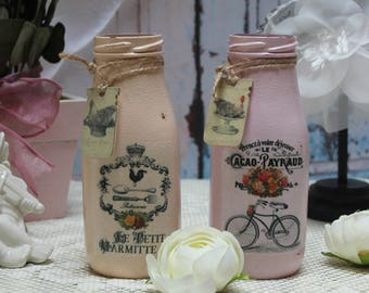 """A set of 2 Vintage French Farmhouse Distressed """"Dairy Cow"""" Milk jars"""