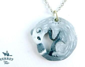Ferret Necklace - Silver Mitt (Clay Pendant)