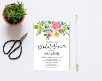 Watercolor Bridal Shower invitation, Bridal shower invitation, Rustic bridal shower invitation, Floral Bridal Shower - US_BI1201
