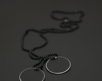 Blackened Stainless Steel Distressed Round Army Dog Tags with Matching Ball Chain Necklace