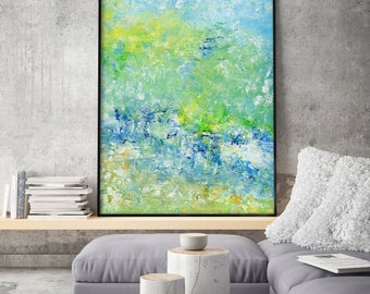 Abstract Extra Large PRINT, Giclee of Original Painting,Blue Seascape, Navy Indigo Blue Green Mint Wall Art Decor