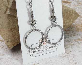 Hammered Ring Earrings | Sterling Silver Earrings | Silver Earrings | Rustic Earrings | Long Silver Earrings