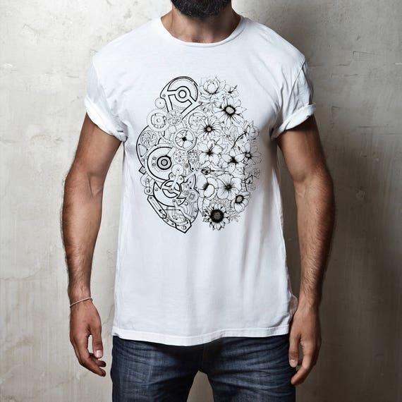 Left Brain Right Brain | Unisex T-shirt | Apparel | Women / Men Clothing | Personalized T-shirt | Ink flowers | Graphic Tee | ZuskaArt