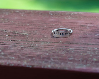I LOVE ME Ring, Handmade, Sterling Silver, Made To Order