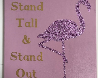 Hand-Painted Glitter Flamingo Canvas