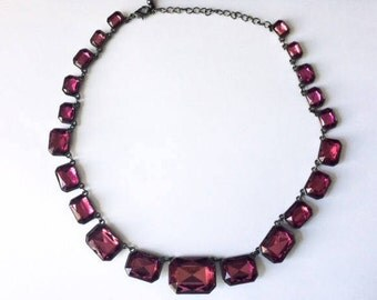 Vintage 1960's Rose Red Pink Rivière Faceted Acrylic Crystal Anna Wintour Inspired Statement Necklace