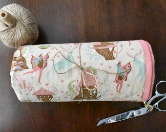Woodland Fairy whole cloth quilt | pink | mint | baby gift