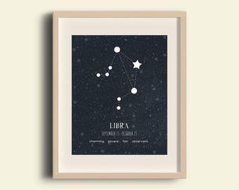 Astrology Art, Libra Constellation, Libra Print, Libra Birth Sign, Zodiac Art, Libra Star Map, Libra Print, Libra Poster, Libra Zodiac