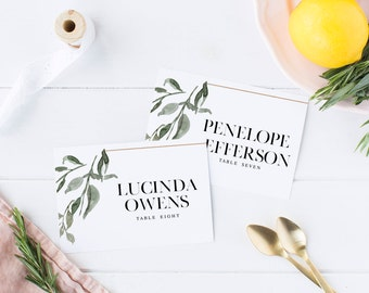 Wedding Place Cards, The Andrea Suite, Minimalist Wedding Suite, Floral Wedding Suite, Printable Place Cards