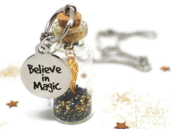 Inspirational quote necklace - Miniature bottle pendant - Inspirational jewelry for women - Quote jewelry - Word necklace - Enchanted gifts