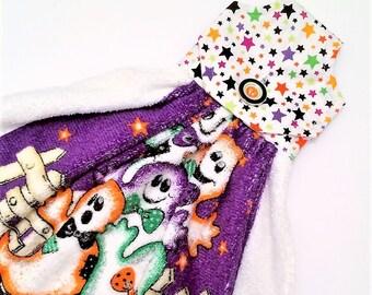 Hanging Halloween Towel, Ghosts Decor, Halloween Kitchen Decor, Button Top Towel, Purple Towel, Kitchen Tie Towel, Oven Door,Tea Towel, Dish