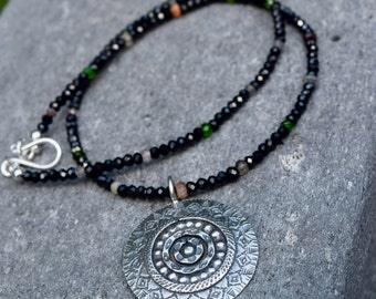 Sun Disk and Spinel Necklace~ Protection Energy Stones~Sterling Silver and Black Spinel Statement Necklace~ Tribal Necklace