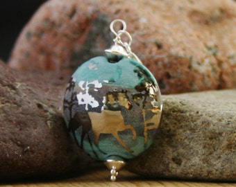Horse pendant, horse necklace,  sterling silver, lampwork bead, turquoise, mauve, blue, bead, silver,