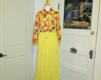 70's small yellow maxi dress, button up, made in Canada by Leisure Lady
