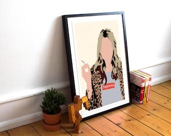 Kate Moss INSPIRED - Supreme /Kate Moss Print / Minimalist / Kate Moss / Fashion Poster / Home Decor / Kate Moss Poster / Supreme
