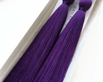 Ultra violet Gift wife Tassel jewelry her Violet gift earrings Tassel Long fringe Jewelry Gift