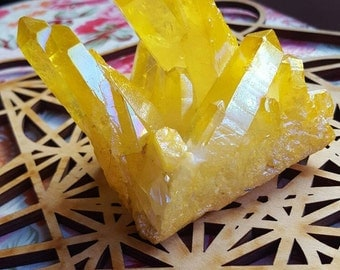Yellow HAPPY Angel Aura Quartz Crystal Cluster (Large!)