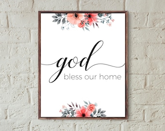 christian wall art print god bless our home quotes prints floral home decor printable entryway gallery wall decor family digital download