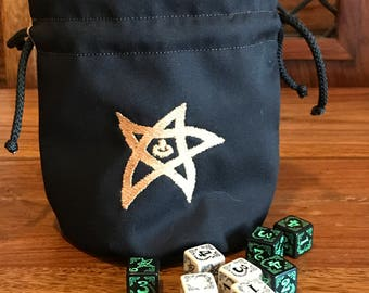 Cthulhu 'Elder Sign' Dice Bag in 'Antique Gold'