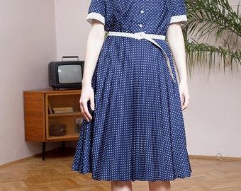 Vintage dress•Mod dress•Pleated dress•Vintage clothing•Polka dot dress•Elegant dress•retro dress•70s elegant dress•VTG secretary dress