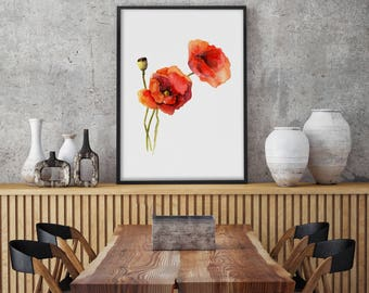 Red Poppy Watercolor Painting, Print, Poppies Illustration, Drawing,Minimalist Wall Art, Wild Flowers