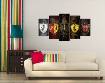 "Greyjoy House, Stark House Banner, Lannister House, House Baratheon, House ""Baratheon"" of King's Landing, House Baratheon of Dragonstone"