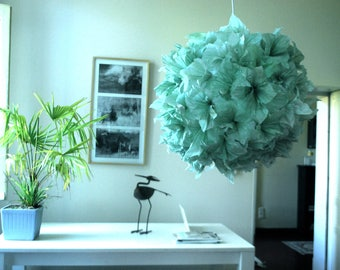 Hanging paper lamp/lighting handmade/Green paper lamp/Japanese lamp « Green Flower» Made in France.