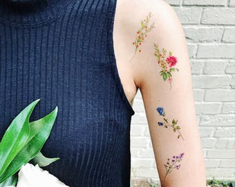 Temporary Tattoos Flower Set of 7, flower tattoos, rose,flower tattoo, pink, blue, red,yellow, handmade,floral temporary,body art
