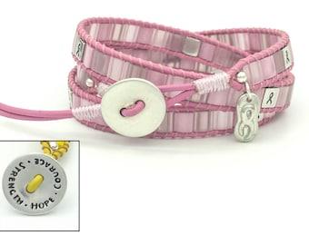 Breast Cancer Strength Hope Courage Triple Wrap Bracelet Sterling Silver