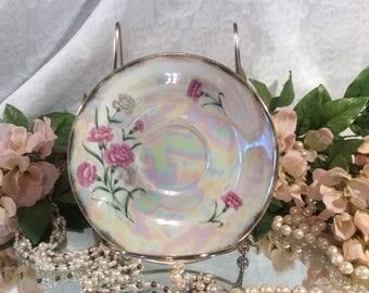 "Pearlescent, Lusterware Tea Saucer, UCAGCO Ceramics Japan, ""January Carnation"""